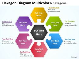 Hexagon Diagram Multicolor 6 hexagons Powerpoint templates 0812 5