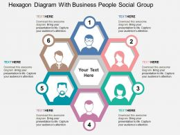 Hexagon Diagram With Business People Social Group Flat Powerpoint Design