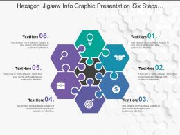 Hexagon Jigsaw Info Graphic Presentation Six Steps Business Workflow