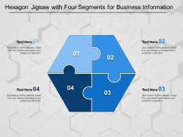 Hexagon Jigsaw With Four Segments For Business Information