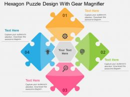 Hexagon Puzzle Design With Gear Magnifier Flat Powerpoint Design