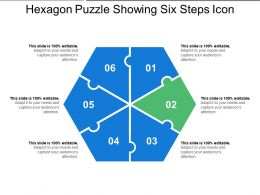 Hexagon Puzzle Showing Six Steps Icon