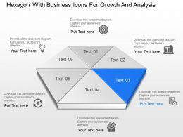 Hexagon With Business Icons For Growth And Analysis Powerpoint Template Slide