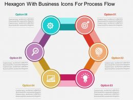 Hexagon With Business Icons For Process Flow Flat Powerpoint Design