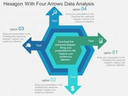 Hexagon With Four Arrows Data Analysis Flat Powerpoint Design