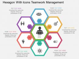 Hexagon With Icons Teamwork Management Flat Powerpoint Design
