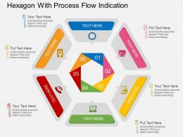 Hexagon With Process Flow Indication Flat Powerpoint Design