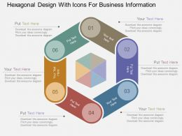 Hexagonal Design With Icons For Business Information Flat Powerpoint Design