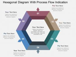 Hexagonal Diagram With Process Flow Indication Flat Powerpoint Design