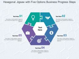 Hexagonal Jigsaw With Five Options Business Progress Steps