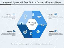 Hexagonal Jigsaw With Four Options Business Progress Steps