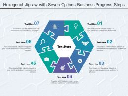 Hexagonal Jigsaw With Seven Options Business Progress Steps