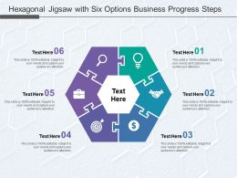 Hexagonal Jigsaw With Six Options Business Progress Steps