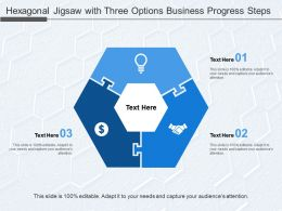 Hexagonal Jigsaw With Three Options Business Progress Steps