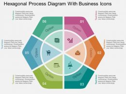 Hexagonal Process Diagram With Business Icons Flat Powerpoint Design