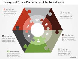 Hexagonal Puzzle For Social And Technical Icons Flat Powerpoint Design