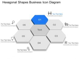 Hexagonal Shapes Business Icon Diagram Powerpoint Template Slide