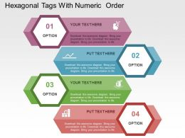 Hexagonal Tags With Numeric Order Flat Powerpoint Design