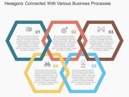 Hexagons Connected With Various Business Processes Flat Powerpoint Design