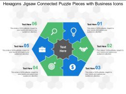 Hexagons Jigsaw Connected Puzzle Pieces With Business Icons