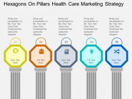 Hexagons On Pillars Health Care Marketing Strategy Flat Powerpoint Desgin