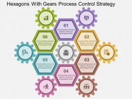 Hexagons With Gears Process Control Strategy Flat Powerpoint Design