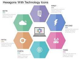 Hexagons With Technology Icons Flat Powerpoint Design