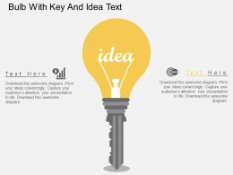 Hf Bulb With Key And Idea Text Flat Powerpoint Design
