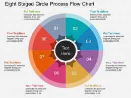 hf Eight Staged Circle Process Flow Chart Flat Powerpoint Design