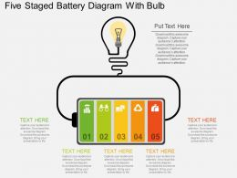 Hf Five Staged Battery Diagram With Bulb Flat Powerpoint Design
