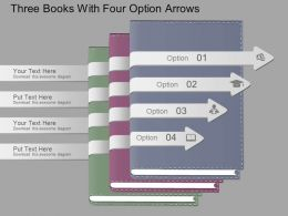 Hf Three Books With Four Option Arrows Powerpoint Template