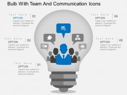Hg Bulb With Team And Communication Icons Flat Powerpoint Design
