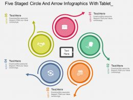 Hg Five Staged Circle And Arrow Infographics With Tablet Flat Powerpoint Design