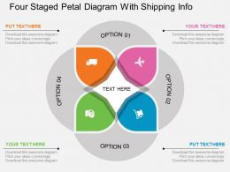 hg Four Staged Petal Diagram With Shipping Info Flat Powerpoint Design