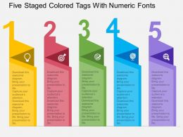 Hh Five Staged Colored Tags With Numeric Fonts Flat Powerpoint Design