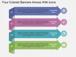 Hh Four Colored Banners Arrows With Icons Flat Powerpoint Design