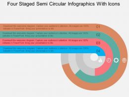 hh Four Staged Semi Circular Infographics With Icons Flat Powerpoint Design