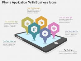 Hh Phone Application With Business Icons Flat Powerpoint Design