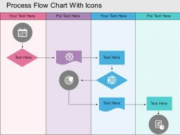 Hh Process Flow Chart With Icons Flat Powerpoint Design