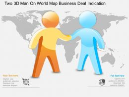 hh_two_3d_man_on_world_map_business_deal_indication_powerpoint_template_Slide01