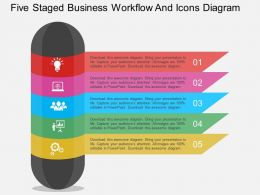 hi Five Staged Business Workflow And Icons Diagram Flat Powerpoint Design