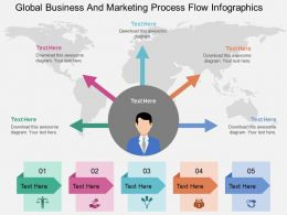 hi Global Business And Marketing Process Flow Infographics Flat Powerpoint Design