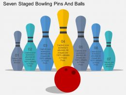 Hi Seven Staged Bowling Pins And Balls Flat Powerpoint Design