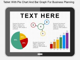 Hi Tablet With Pie Chart And Bar Graph For Business Planning Flat Powerpoint Design