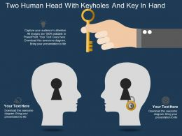 Hi Two Human Head With Keyholes And Key In Hand Powerpoint Template