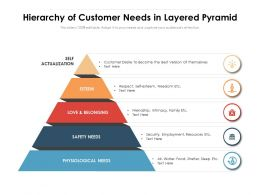 Hierarchy Of Customer Needs In Layered Pyramid