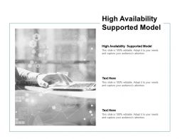High Availability Supported Model Ppt Powerpoint Presentation Infographic Template Cpb