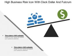 High Business Risk Icon With Clock Dollar And Fulcrum