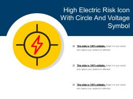 High Electric Risk Icon With Circle And Voltage Symbol