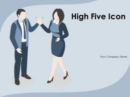 High Five Icon Athletes Winning Contract Completing Project Representing Individual